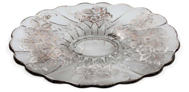 Floral Silver Overlay Platter