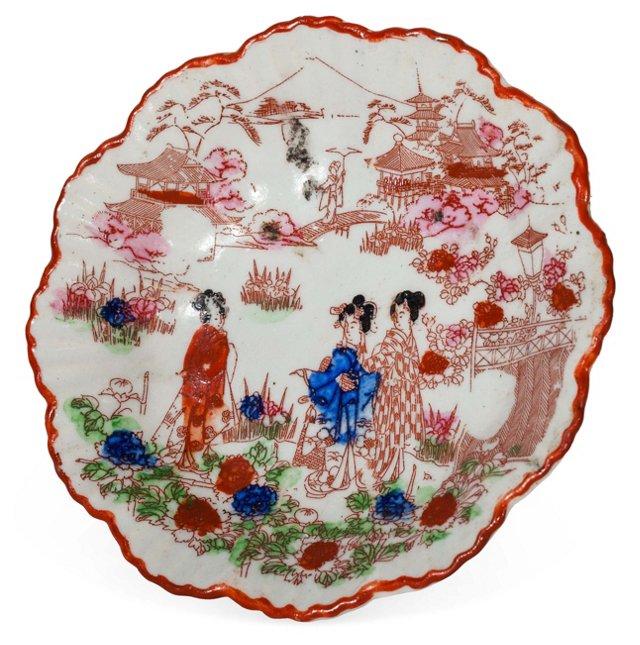 Antique Porcelain Scalloped Dish