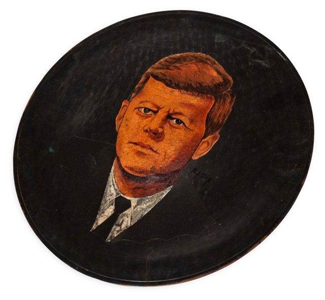 JFK Oil Painting on Copper Plate