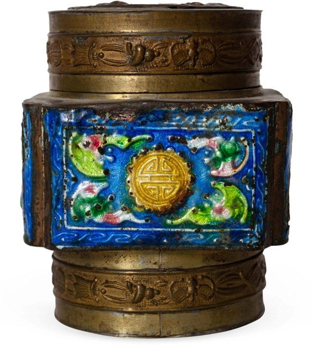 Cloisonné Brass Chinese Box