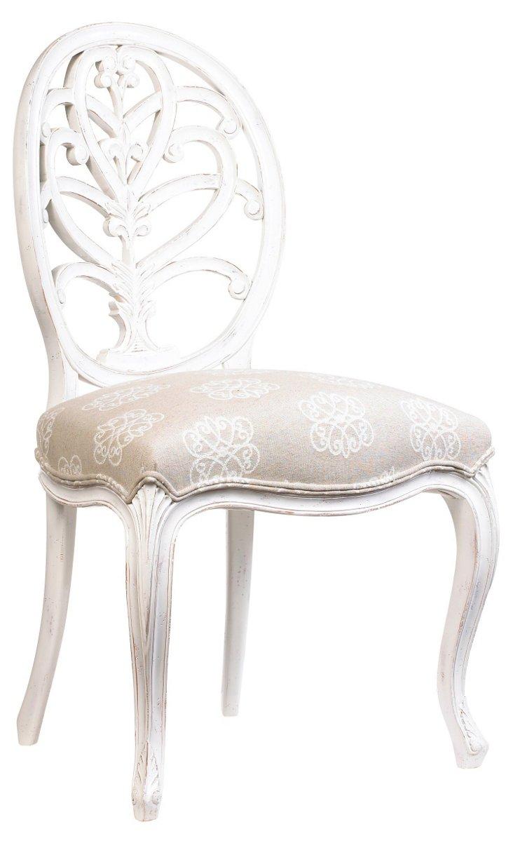 Bianca Cotton Side Chair, Beige/White