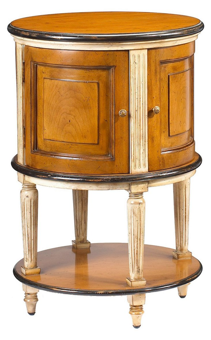 """Laon 20"""" Drum Table, Ivory/Toffee"""