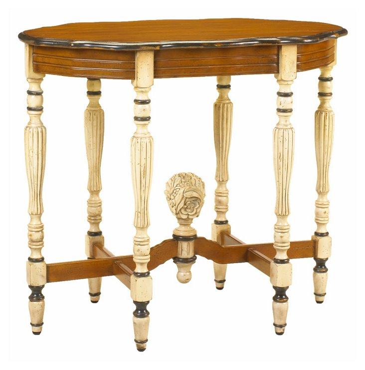 """Jolie 34"""" Oval End Table, Cream/Honey"""