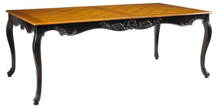 "Limoges 83"" Dining Table, Black/Honey"