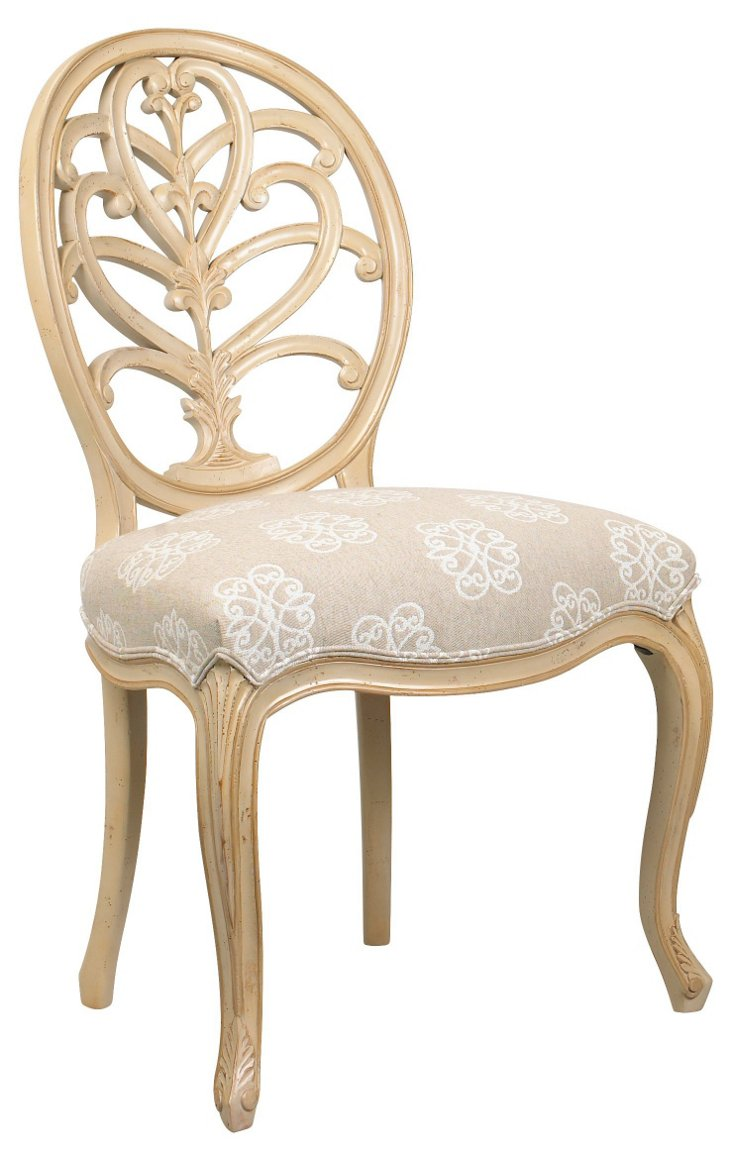 Bianca Cotton Side Chair, Tan/Ivory