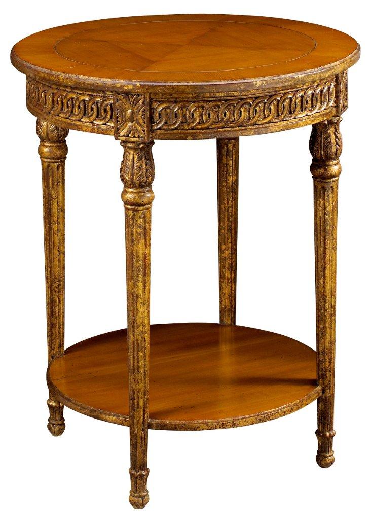 "Avallon 24"" Round Side Table, Caramel"