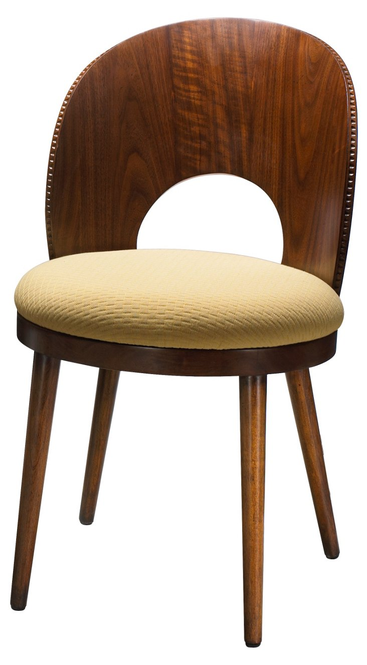 Dian Cotton Side Chair, Walnut/Butter