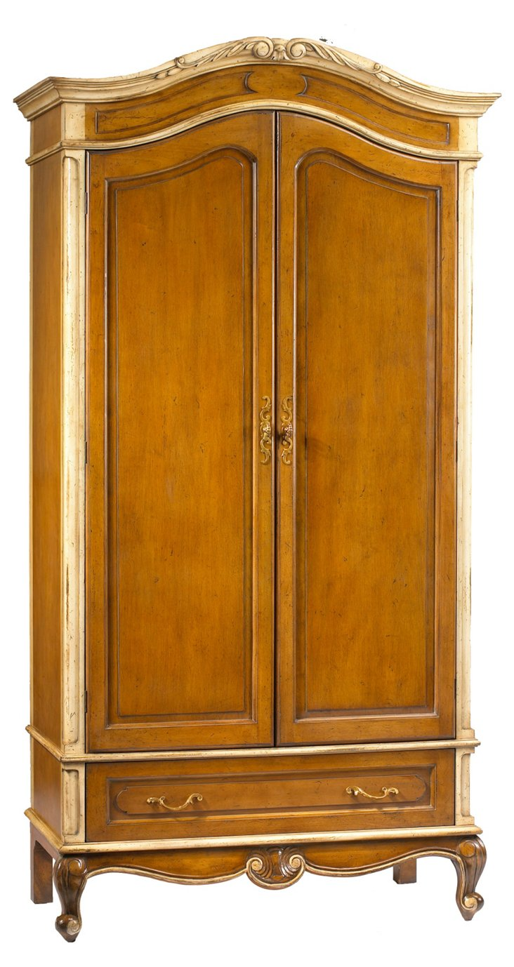 Laon 2-Door Armoire, Pecan/Ivory