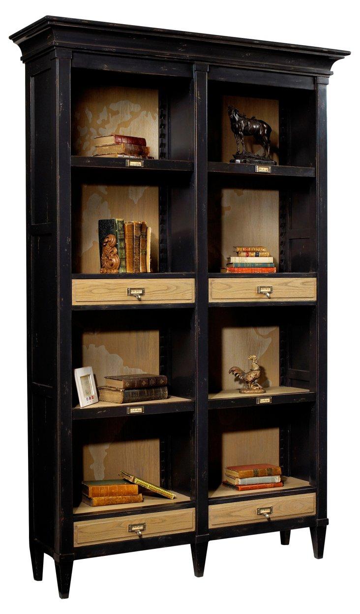 Parc Open Bookcase, Black/Driftwood