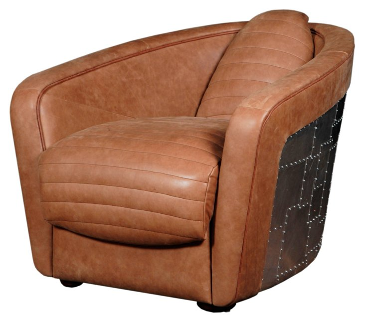 George Leather Accent Chair, Caramel
