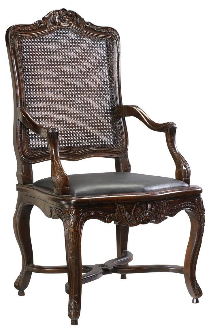 Regence Caned Leather Armchair, Ebony