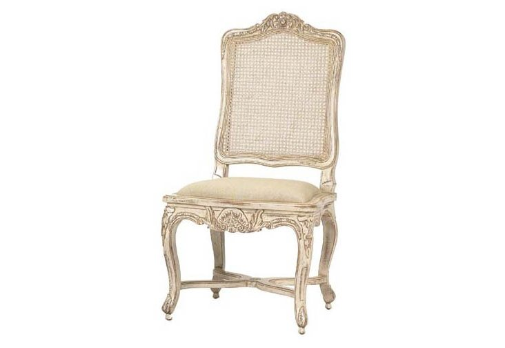 Regence Caned Side Chair, Antiqued White