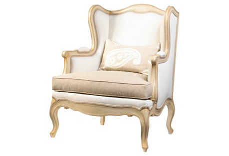 Acadian Wingback Chair, Ivory/Cashew