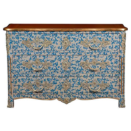 "Malvaux 52"" Patterned Dresser, Blue/Gold"