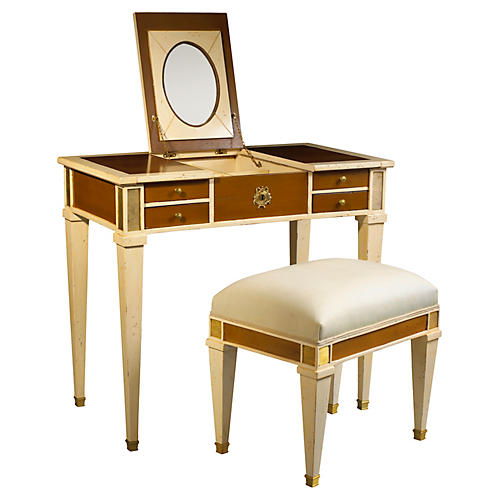 Aubin Mirrored Vanity & Stool, Ivory