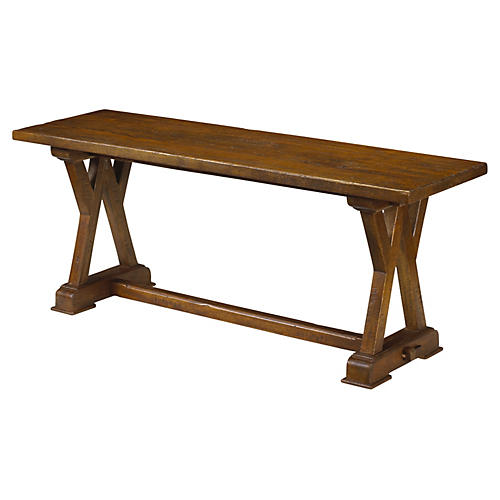 Carcassone Dining Bench, Coffee Brown