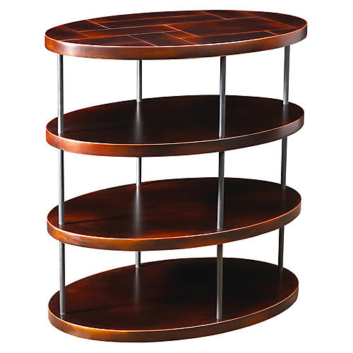 Menlo Oval Side Table, Black Cherry