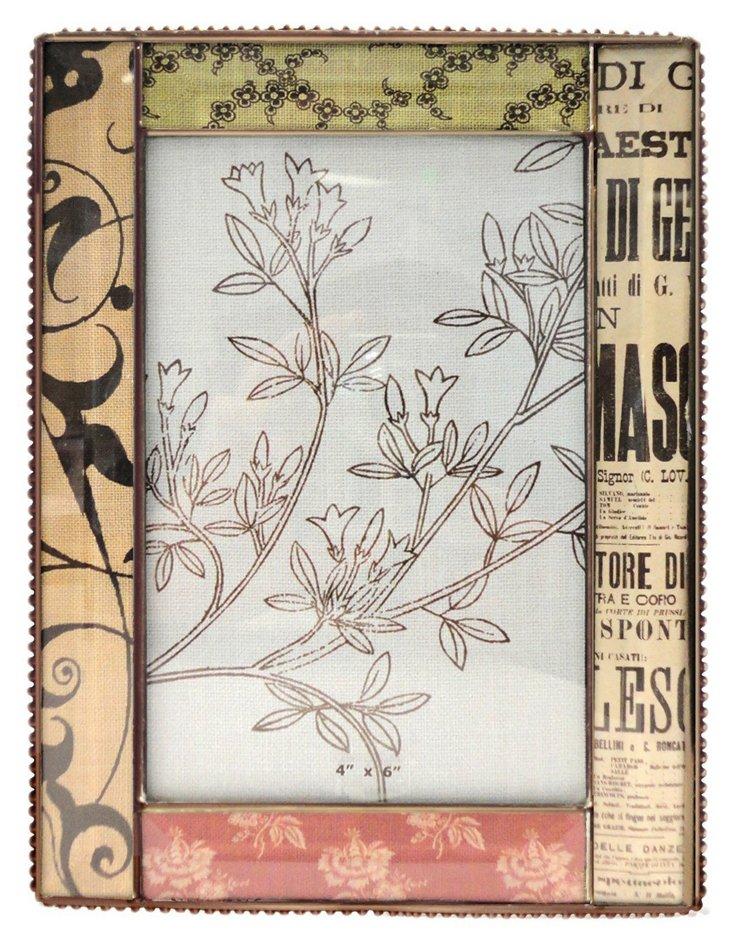 Linen Beaded Glass Frame, 4x6