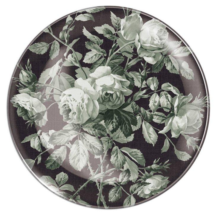 Gray Rose Round Glass Tray