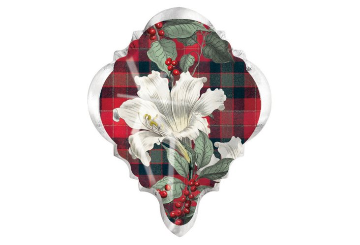S/3 Plaid Lily Crystal Magnets