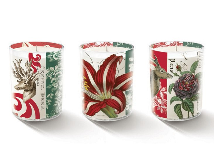 S/3 Winter Floral Candles