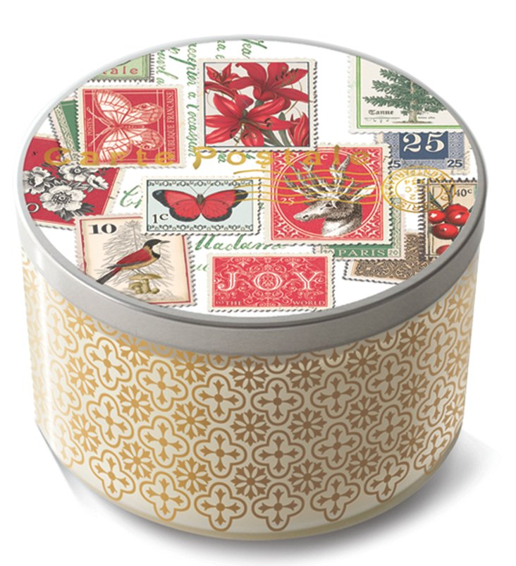 S/2 Holiday Post Tin Lid Candles