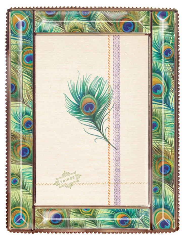 5x7 Peacock Glass Beaded Frame