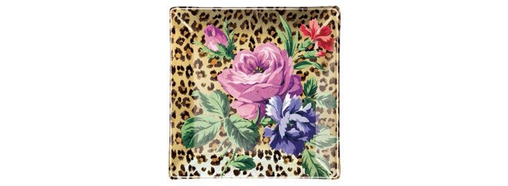 S/2 Leopard Rose Small Sq. Trays