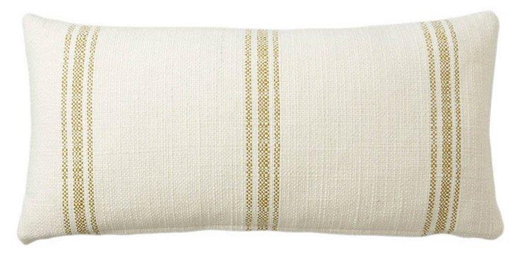 Stripe 12x24 Linen-Blended Pillow, Ivory