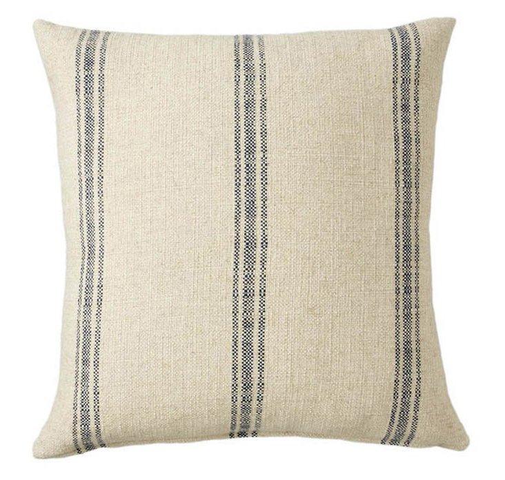 Stripe 26x26 Linen-Blended Pillow, Navy
