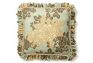 Flower 20x20 Pillow w/ Ruffle, Spa