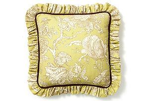 20x20 Flower Pillow w/ Ruffle, Citrine