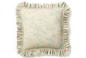 20x20 Bird Pillow w/ Ruffle, Spa