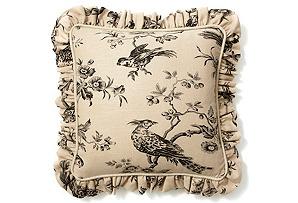 20x20 Bird Pillow w/ Ruffle, Black