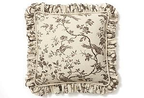 20x20 Bird Pillow w/ Ruffle, Godiva