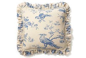 Ruffle Bird 20x20 Pillow, Marine