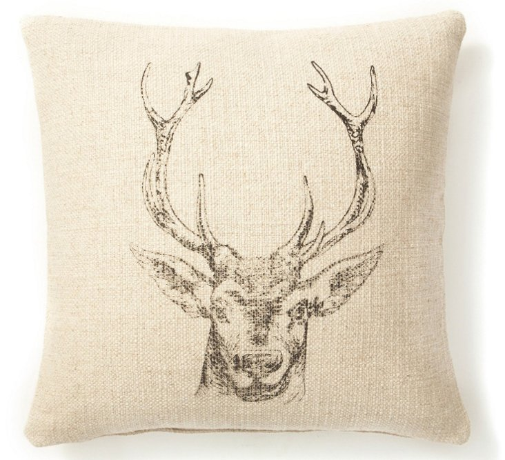 Deer 20x20 Linen-Blend Pillow, Sand