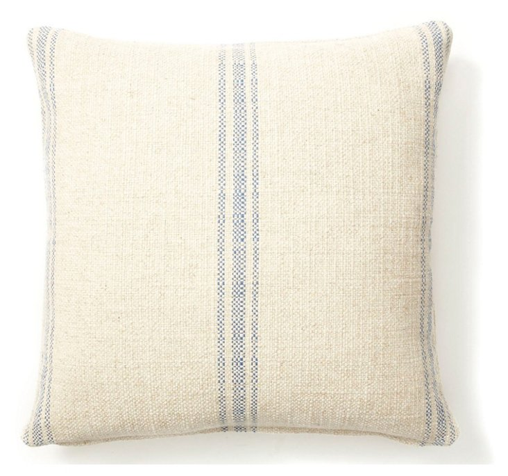 Striped 20x20 Linen-Blend Pillow, Blue