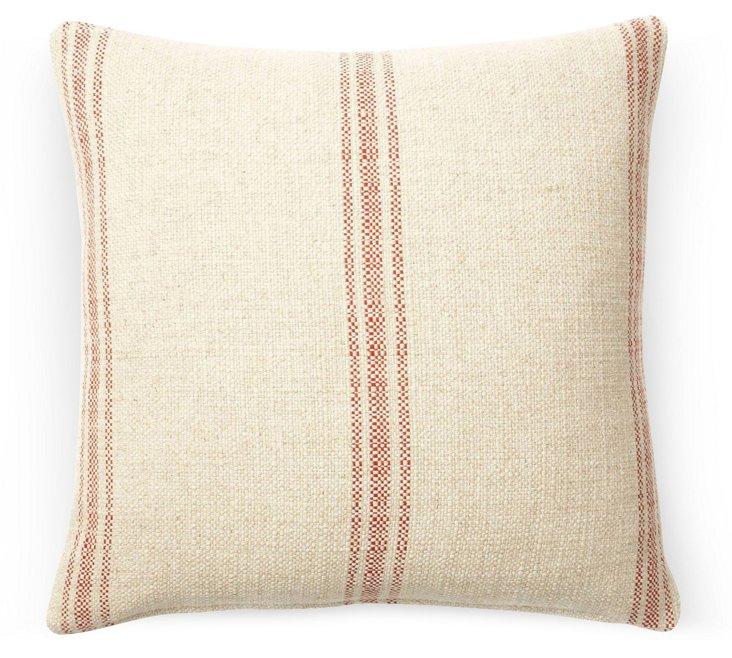 Striped 20x20 Linen-Blend Pillow, Coral