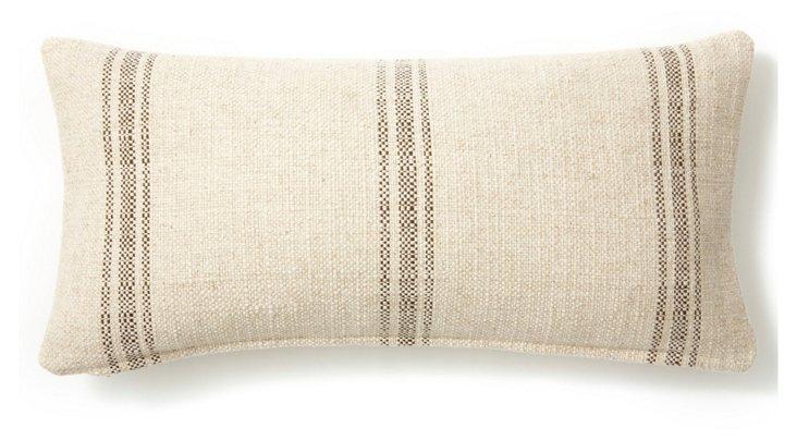 Striped 12x24 Linen-Blend Pillow, Cream