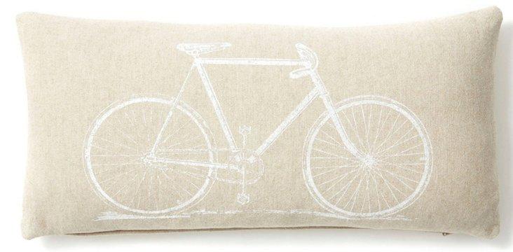Bicycle 10x20 Linen-Blend Pillow, Sand