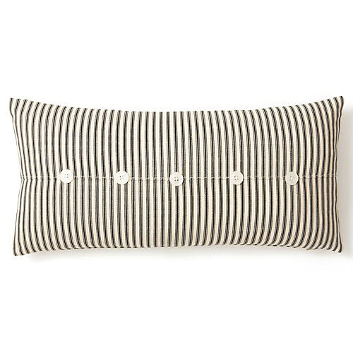 Ticking 10x20 Cotton Pillow, Black/Sand