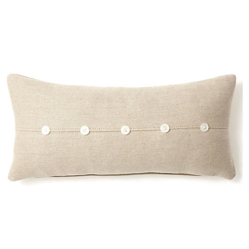Button 10x20 Linen-Blend Pillow, Natural