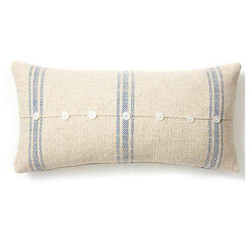 Button 12x24 Linen-Blended Pillow, Blue