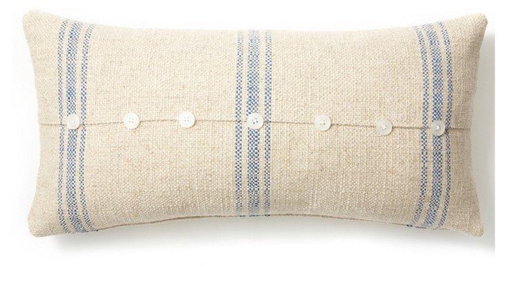 Button 12x24 Linen-Blended Pillow, Blue