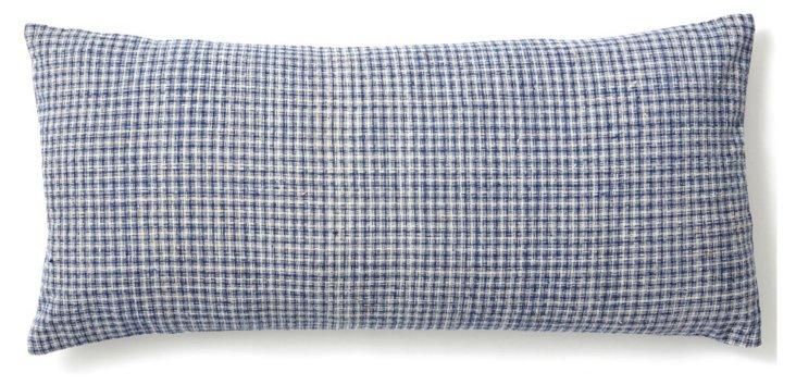 Checked 10x20 Cotton Pillow, Blue