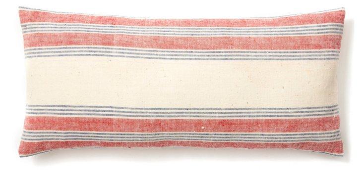 Stripe 10x20 Cotton Pillow, Red/White