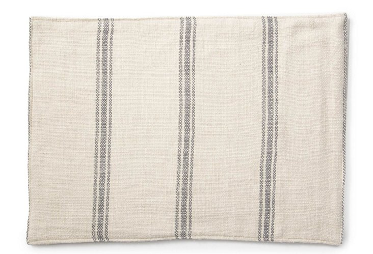 S/6 Striped Place Mats, Gray