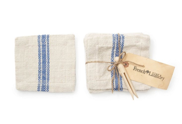 S/6 Brussels Cocktail Napkins, Blue