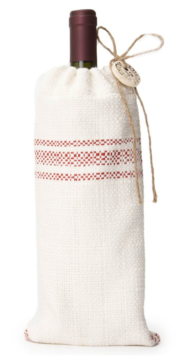 Striped Wine Bag, Red